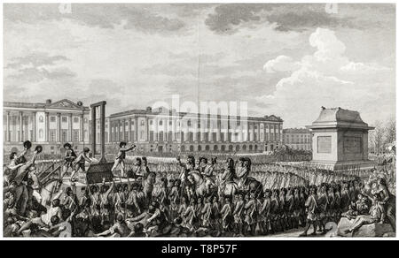 French Revolution. Execution of Louis XVI. 21 January 1793 the death of Louis Capet (Louis XVI) by Guillotine in the Place de la Revolution, Paris, engraving 1794 - Stock Photo