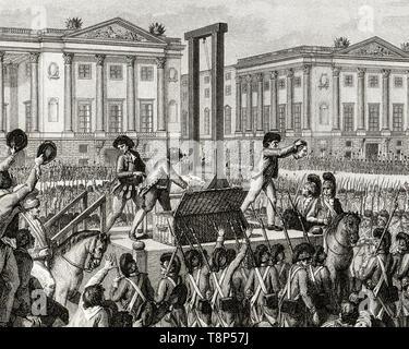 French Revolution. Execution of Louis XVI. 21 January 1793 the death of Louis Capet (Louis XVI) in the Place de la Revolution, Paris, engraving 1794 - Stock Photo