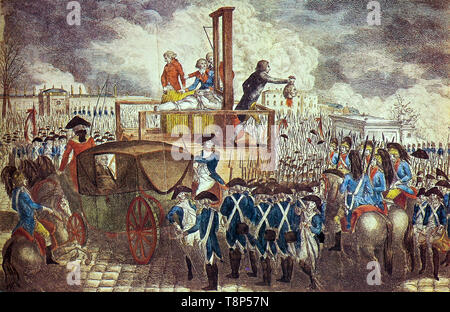 French Revolution. The Death of Louis XVI. Execution of Louis XVI on the Guillotine, copperplate engraving by Georg Heinrich Sieveking, 1793 - Stock Photo