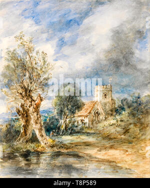 John Constable, Stoke Poges Church, watercolour painting, 1834 - Stock Photo