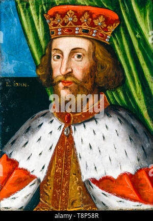 King John (1166-1216), portrait painting by the British School, before 1626 - Stock Photo