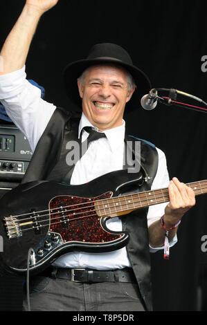 Giovani Buldo performing with Vinicio Capossela and the La Banda della Posta (The Post Office Band), Womad Festival, Charlton Park, UK, July 27, 2014 - Stock Photo
