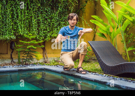 Pool worker made a mistake in pool chemicals - Stock Photo