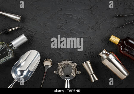 Bar, cocktails, alcohol, Bar tools,bartender, copper, tray, Rum, vodka, tequila, gin  - Stock Photo