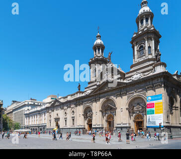 Santiago, Plaza de Armas. The Metropolitan Cathedral, Plaza de Armas, Santiago Centro, Santiago, Chile, South America - Stock Photo
