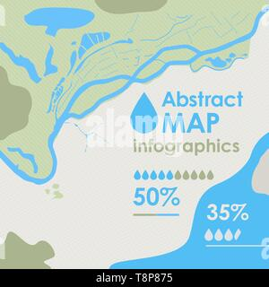 Vector abstract part of map with river, sea, island, land and forest, background backdrop for ecological, geological infographics. - Stock Photo