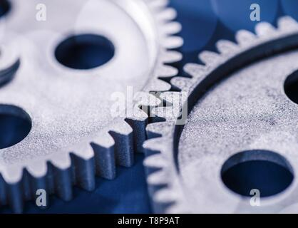 Detail of two gears meshing with each other. | usage worldwide