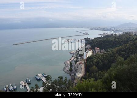 City, harbor and ships on 02.04.2019 in Bejaia - Algeria. | usage worldwide - Stock Photo