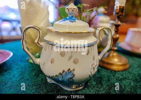 tea set close-up on the table - Stock Photo