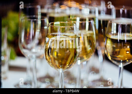 A lot of glasses. Glasses of wine. Buffet. The drinks. Dishes for the restaurant. - Stock Photo