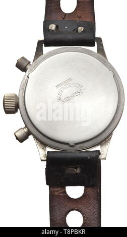 A chronograph manufactured by Hanhart Naval aviator and crew member of the only German aircraft carrier 'Graf Zeppelin'. Nickel-plated case, black dial (Hanhart - 17 jewels), luminous numerals and hands, small second hand, mark on the bezel. Two-pusher stopwatch mechanism, with results shown by second hand and 30-minute counter, manual winding. Screwable lid, the high-grade steel back punched 'Wassergeschützt' (waterproof) and 'Stossfest' (shock resistant). On a contemporary, black leather watch band showing signs of usage. Comes with the original presentation case of the c, Editorial-Use-Only - Stock Photo