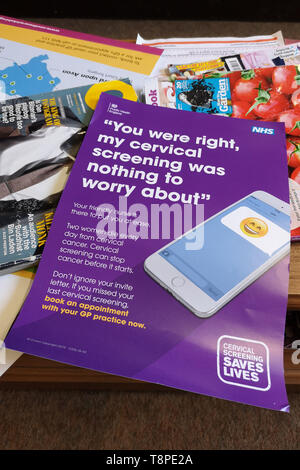 A leaflet with advice for patients about Cervical Screening seen in an NHS local doctors surgery waiting room in Warwickshire, UK, On May 14, 2019. - Stock Photo
