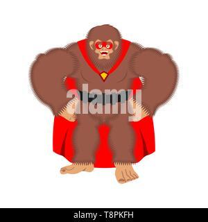 Bigfoot superhero. Super Yeti in mask and raincoat. Strong sasquatch - Stock Photo
