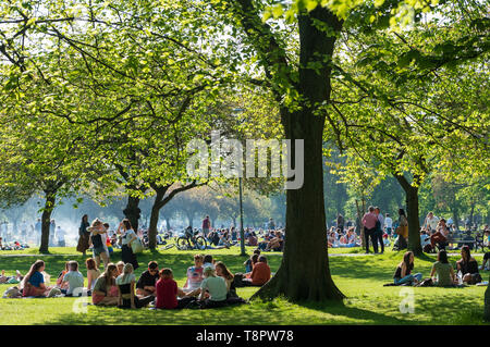 Edinburgh, Scotland, UK. 14 May 2019. Warm sunny weather in the capital brought hundreds of people to The Meadows park in the afternoon to enjoy the sun. The park is adjacent to Edinburgh University and it seemed that most of the crowd were students taking a break from studying for upcoming exams Credit: Iain Masterton/Alamy Live News - Stock Photo