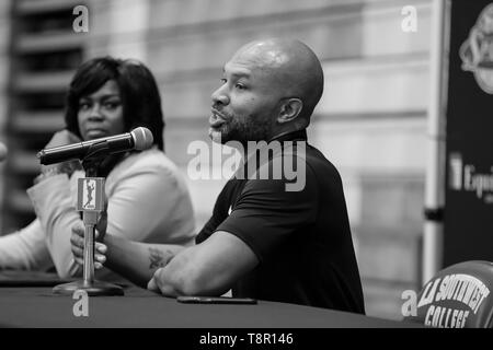 WNBA 2019: during Los Angeles Sparks Media Day May 14, 2019 at Los Angeles Southwest College. (Photo by Jevone Moore) - Stock Photo