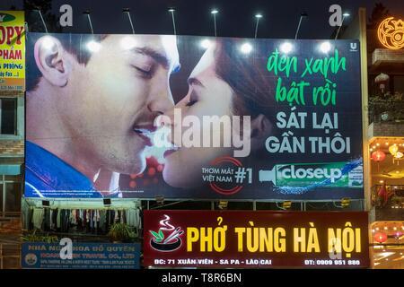 Vietnam, Lao Cai province, Sa Pa town, poster - Stock Photo