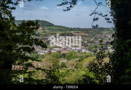 View looking across Sidmouth from Page Wood, on Soldiers Hill, to the east of the Devon town. - Stock Photo
