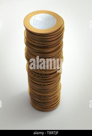 3D Render of Various Turkish Lira Coins - Stock Photo