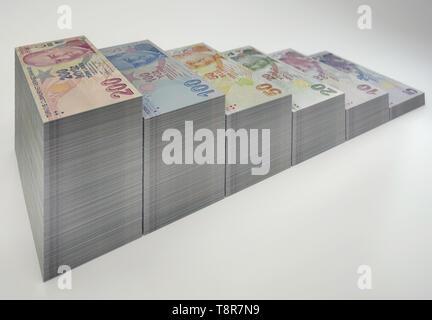 3D Render of Various Turkish Lira Banknotes - Stock Photo
