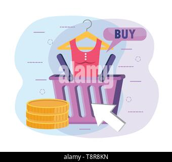 shopping basket with blouse and digital coins vector illustration - Stock Photo