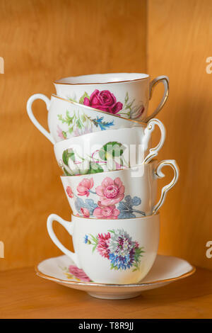 A stack of tea cups. - Stock Photo