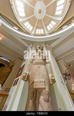 Colossus of Ramsses II carved with  names and titles of Merneptah or Merenptah at the Museum of Egyptian Antiquities  Cairo Egypt - Stock Photo