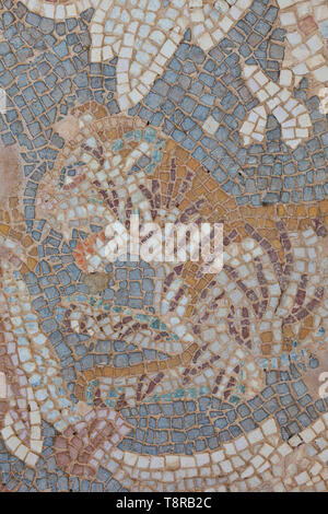 Tigre en mosaico. Ciudad grecorromana Jerash, Jordania, Oriente Medio - Stock Photo