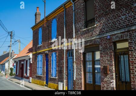 Fishermen's houses, Le Crotois, Bay of Somme, Hauts-de-France, France - Stock Photo
