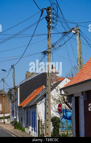 Fishermen's houses, Le Crotois, Bay of Somme, Hauts-de-France, France - Stock Photo