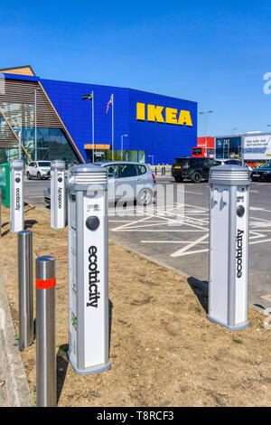 Ecotricity charging points for electric cars outside the large IKEA store on the Greenwich Peninsula. - Stock Photo