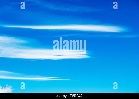 Beautiful blue sky with cirrus clouds; central Colorado; USA - Stock Photo