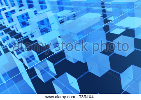 Blockchain concept 3d rendering with blue cubes and chains stands as cryptocurrency digital code chain. - Stock Photo