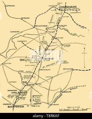 """'Map Showing the Lines of Advance from Bloemfontein to Pretoria', 1901. Positions and lines of advance of British forces c1900, under Frederick Sleigh Roberts and John French during the Boer Wars in South Africa. From """"The Life and Deeds of Earl Roberts, Vol. IV. - To Lord Roberts's Reign in Pall Mall"""", by J. Maclaren Cobban. [T. C. & E. C. Jack, Edinburgh, 1901] - Stock Photo"""