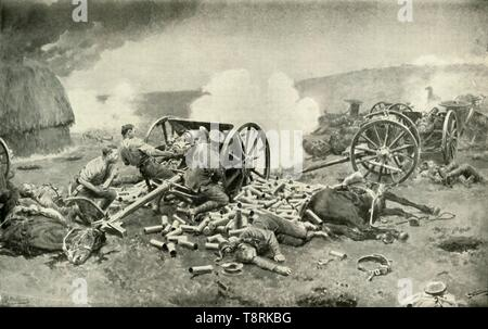"'A Heroic Deed of the Royal Horse Artillery Near Compiègne', (1919). Scene from the First World War: at the Battle of Nery in September 1914, the British 1st Cavalry Brigade and 'L Battery', Royal Horse Artillery, fought off the Germans until relieved by British infantry reinforcements. The battery was all but destroyed apart from one gun which was kept in action by Captain Edward Bradbury, Sergeant David Nelson and Battery Sergeant-Major George Dorrell. All three were awarded the Victoria Cross for their brave stand, Bradbury's VC being posthumous. From ""The History of the Great Eur - Stock Photo"