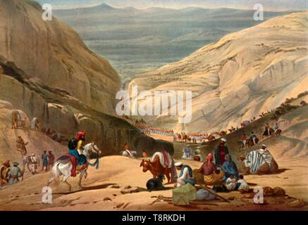 'Army Emerging from the Shutargardan Pass into the Logar Valley', c1840, (1901).  Creator: James Atkinson. - Stock Photo
