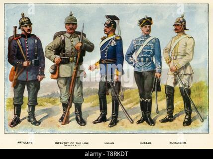 """'Types of the German Army', 1919. Soldiers serving during the First World War, 1914-1919: Artillery, Infantry of the Line (service kit), Uhlan, Hussar, Cuirassier. From """"The History of the Great European War: its causes and effects"""", Vol. I, by W. Stanley Macbean Knight. [Caxton Pulishing Company, Limited, London, 1919] - Stock Photo"""