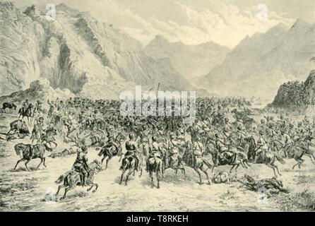 'Charge of Punjab Cavalry in the Second Action Near Charasia, on 24th April 1880', (1901).  Creator: Unknown. - Stock Photo