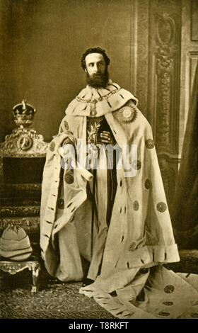 "'Lord Lytton', c1877, (1901). Portrait of Edward Robert Bulwer-Lytton, 1st Earl of Lytton (1831-1891), who served as Viceroy of India between 1876 and 1880, during which time Queen Victoria was proclaimed Empress of India. From ""The Life and Deeds of Earl Roberts, Vol. II. - To The Abdication of Yakub Khan"", by J. Maclaren Cobban. [T. C. & E. C. Jack, Edinburgh, 1901] - Stock Photo"