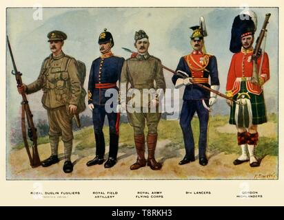 """'Types of the British Army', 1919. Soldiers serving in the First World War, 1914-1919: Royal Dublin Fusiliers (service dress); Royal Field Artillery; Royal Army Flying Corps; 9th Lancers; Gordon Highlanders. From """"The History of the Great European War: its causes and effects"""", Vol. II, by W. Stanley Macbean Knight. [Caxton Pulishing Company, Limited, London, 1919] - Stock Photo"""