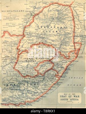 """'Map of the Seat of War in South Africa', 1901. Map showing Bechuanaland, Transvaal Colony, Orange River Colony, Natal, Basutoland and Cape Colony, the theatre of war during the Boer Wars (1880-1902), fought between the British and the Boers. From """"The Life and Deeds of Earl Roberts, Vol. IV. - To Lord Roberts's Reign in Pall Mall"""", by J. Maclaren Cobban. [T. C. & E. C. Jack, Edinburgh, 1901] - Stock Photo"""