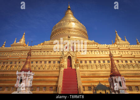 The Shwezigon pagoda in Bagan (Myanmar) - Stock Photo