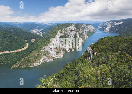 Danube in Djerdap National park, Serbia. Danube gorge 'iron gate' on the Serbian-Romanian border. Landscape in the Danube Gorges seen from the Serbian - Stock Photo