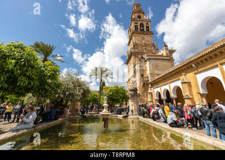 Tourist queueing for tickets. Bell tower  and Court of Oranges in Mosque–Cathedral of Córdoba, Mezquita Cordoba, Andalusia, Spain - Stock Photo