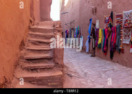 Traditional colorful clothes on the market, Morocco, Africa - Stock Photo