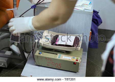 Bucharest, Romania - May 14, 2019: Details with a blood bag at a blood donation center. - Stock Photo
