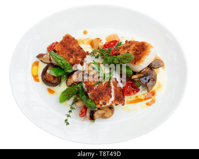 Fish fillet with mushrooms and asparagus, isolated - Stock Photo