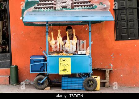A Mexican food vendor sells fresh chickens outside the central Market in Papantla, Veracruz, Mexico. - Stock Photo