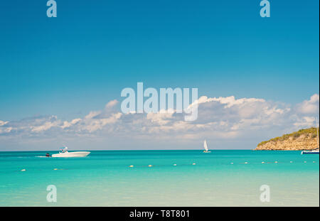Enjoy cruise. Travel ship touristic boat tranquil lagoon. Sky with clouds over calm tropical sea. Boats touristic sailing ships in turquoise ocean lagoon. Sea ship leisure for holidaymakers. - Stock Photo
