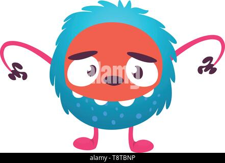 Scary cartoon monster. Vector Halloween blue monster illustration - Stock Photo