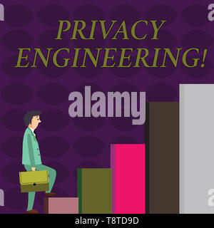 Text sign showing Privacy Engineering. Business photo showcasing engineered systems provide acceptable levels of privacy Businessman Carrying a Briefc - Stock Photo